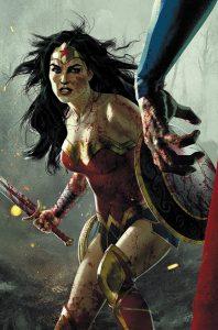 کاور شماره 5 از کمیک بوک DCeased با حضور واندروومن و سوپرمن (برای دیدن سایز کامل روی تصویر کلیک کنید)