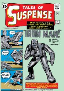 اولین حضور آیرونمن در زره - کاور شماره 39 از کمیک بوکهای Tales of Suspense (برای دیدن سایز کامل روی تصویر کلیک کنید)