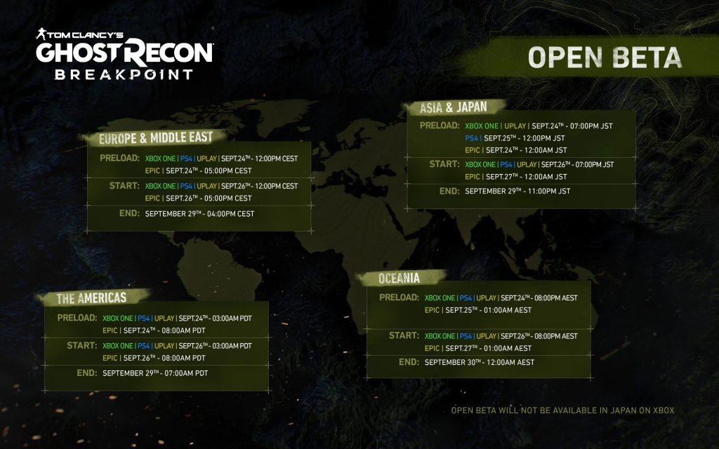 جزئیات زمانبندیهای بتای عمومی Ghost Recon Breakpoint در مناطق مختلف دنیا (برای دیدن سایز کامل روی تصویر کلیک کنید)