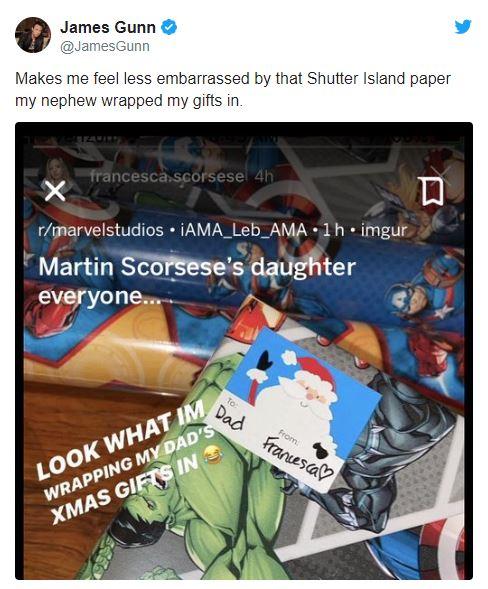 توییت جیمز گان در مورد کاغذ کادوی هدیه مارتین اسکورسیزی