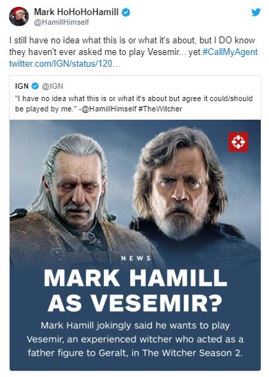 توییت مارک همیل درباره ایفای نقش وزمیر (برای رفتن به خود توییت روی تصویر کلیک کنید)