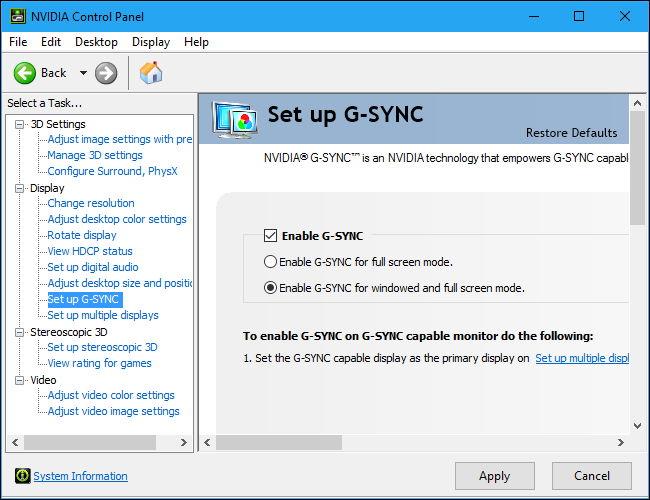 فعال کردن G-Sync