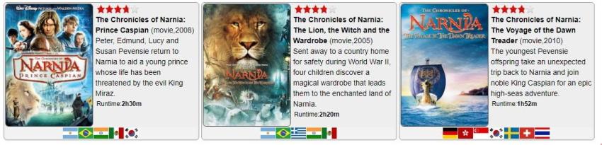 فیلمهای سرگذشت نارنیا