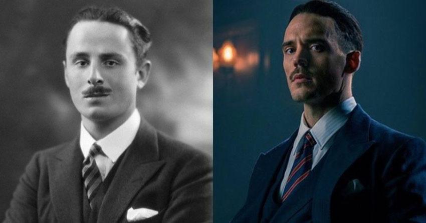 سمت راست: آسوالد ماسلی در سریال Peaky Blinders (با بازی سم کلفلین) - سمت چپ: آسوالد ماسلی واقعی
