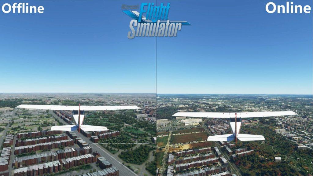 مقایست حالت آفلاین و آنلاین Microsoft Flight Simulator