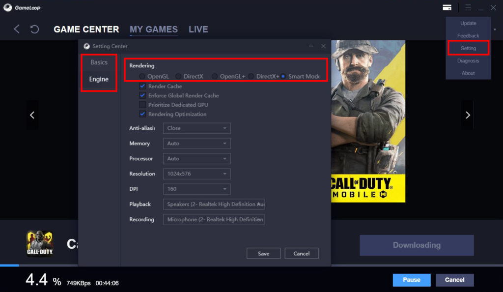 راهنمای اجرای بازیهای اندروید روی کامپیوتر - گیم لوپ - تنظیمات