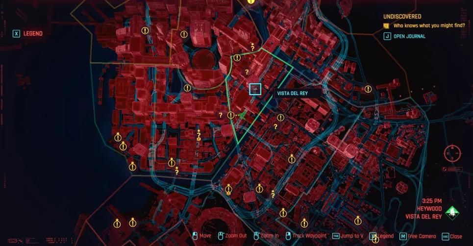همه چیز دربارهی نقشه در Cyberpunk 2077 - نقشه نایت سیتی از ژورنال V