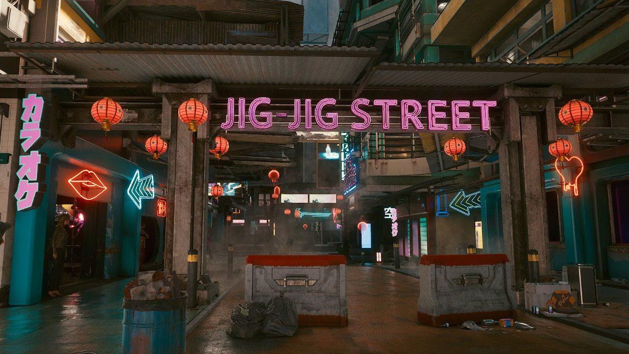 راهنمای روابط عاشقانه در Cyberpunk 2077 - تصویری از خیابان Jig-Jig نایت سیتی