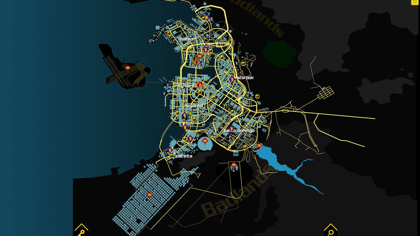همه چیز دربارهی نقشه در Cyberpunk 2077 - نقشه نایت سیتی از نمای بالا