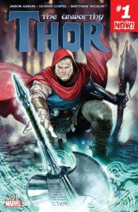 ظاهر ثور روی جلد شماره ۱ کمیک The Unworthy Thor (برای دیدن سایز کامل روی تصویر کلیک کنید)