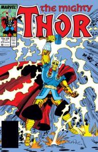 یکی از لباسهای ثور - زره طلایی نبرد ثور روی جلد شماره ۳۷۸ کمیک Thor (برای دیدن سایز کامل روی تصویر کلیک کنید)