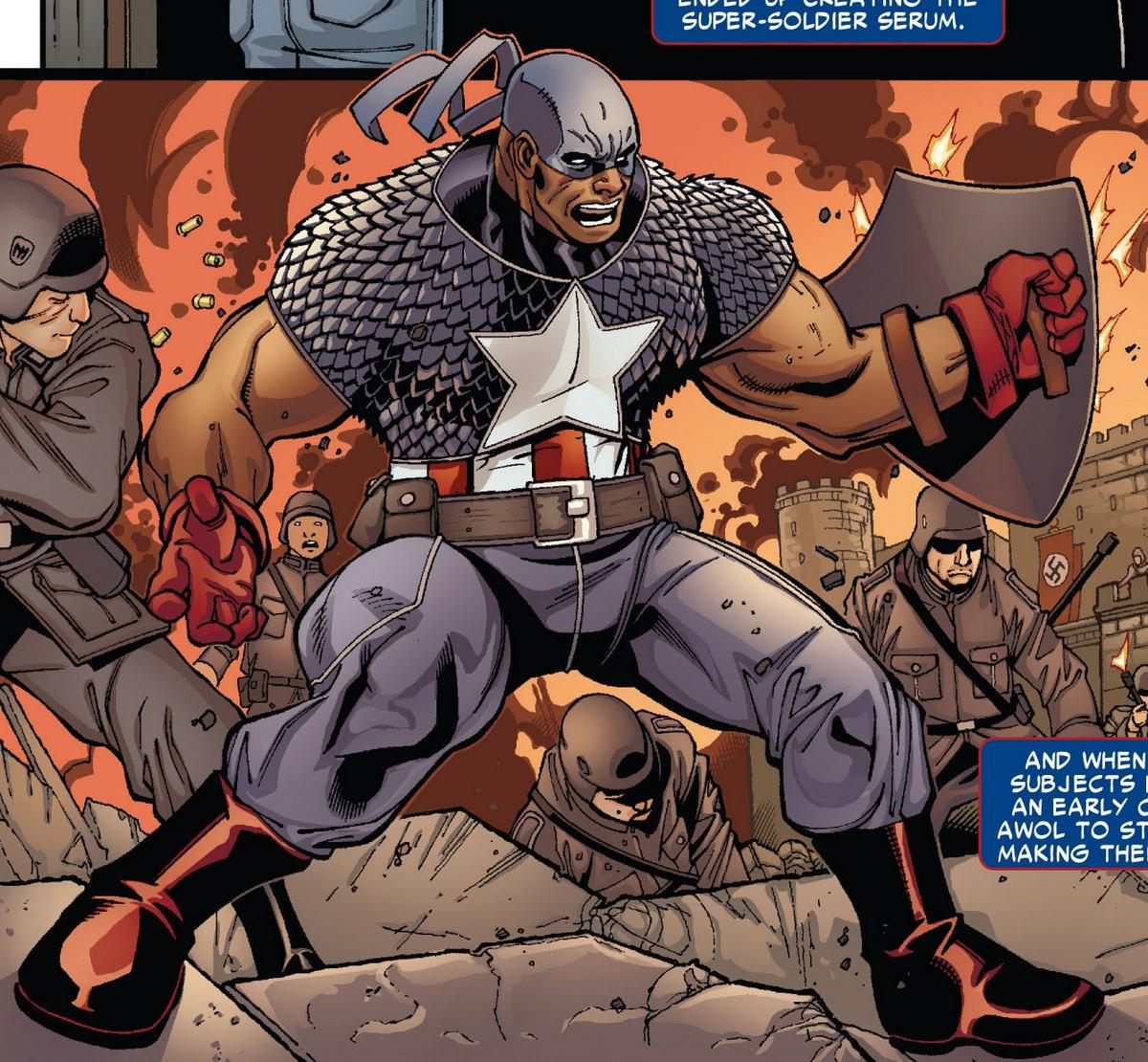 ایسایا بردلی در لباس کاپیتان آمریکا