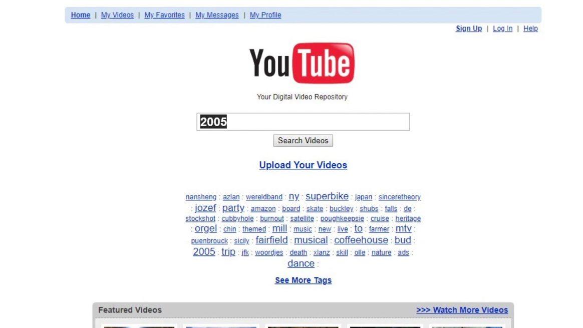 تصویری از ظاهر اولیه یوتیوب در سال 2005