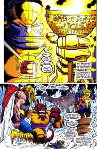 وضعیت ثور در برابر تانوس در شماره ۲۵ کمیک Thor پیش از کمک اودین (برای دیدن سایز کامل روی تصویر کلیک کنید)