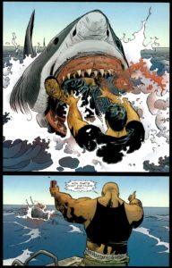 پرتاب شدن اوباش بدبخت به درون دهان کوسه در شماره ۳۴ کمیک Punisher (برای دیدن سایز کامل روی تصویر کلیک کنید)