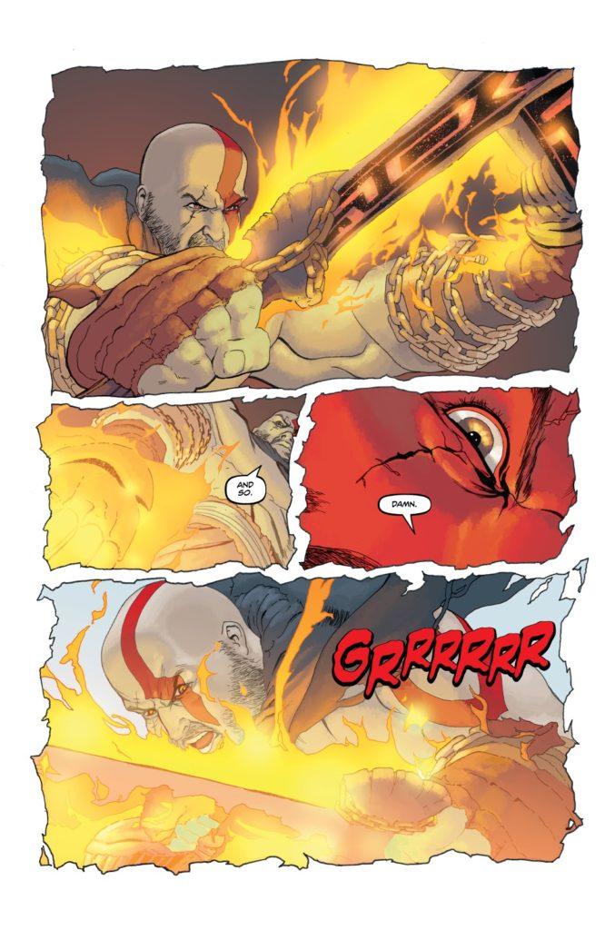یک صفحه از کمیک God of War: Fallen God
