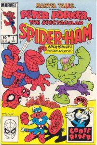 کاپیتان امریکت روی کاور شماره ۱ کمیک Marvel Tails Starring Peter Porker, The Spectacular Spider-Ham (برای دیدن سایز کامل روی تصویر کلیک کنید)
