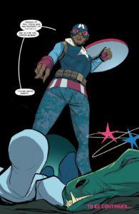 کاپیتان آمریکای سامانتا ویلسون در شماره ۱ کمیک Spider-Gwen (برای دیدن سایز کامل روی تصویر کلیک کنید)