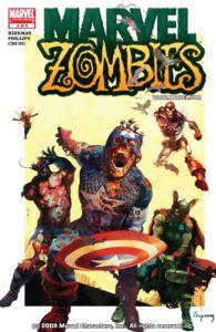 کاپیتان آمریکای زامبی روی کاور شماره ۲ کمیک Marvel Zombies (برای دیدن سایز کامل روی تصویر کلیک کنید)