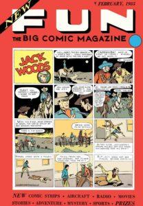 کاور شماره ۱ کمیک New Fun Comics و اولین بخش از ماجراهای جک وودز (برای دیدن سایز کامل روی تصویر کلیک کنید)